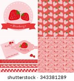 set of strawberry labels  ... | Shutterstock .eps vector #343381289