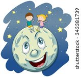 boy and girl on the fullmoon... | Shutterstock .eps vector #343381739