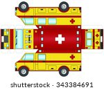 outline of a yellow ambulance   ... | Shutterstock .eps vector #343384691