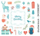 merry christmas decoration... | Shutterstock .eps vector #343388387