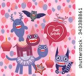 happy birthday funny monsters...   Shutterstock . vector #343388861