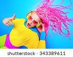ultra trendy dj party girl in... | Shutterstock . vector #343389611