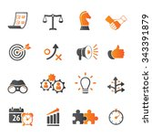 strategy and business icon set | Shutterstock .eps vector #343391879