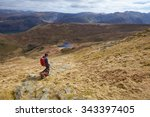 a hiker and their dog walking...   Shutterstock . vector #343397405