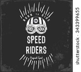 vintage motorbike race   hand... | Shutterstock .eps vector #343399655