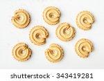 danish butter cookies on wood... | Shutterstock . vector #343419281