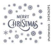 merry christmas hand lettering... | Shutterstock .eps vector #343426391