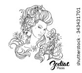 zodiac. illustration of pisces... | Shutterstock . vector #343431701