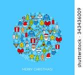 blue greeting christmas card... | Shutterstock .eps vector #343436009