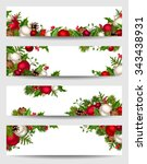 vector set of christmas banners ... | Shutterstock .eps vector #343438931