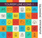thin line tourism icons on... | Shutterstock .eps vector #343444781