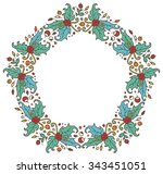 round frame made of branches ... | Shutterstock .eps vector #343451051