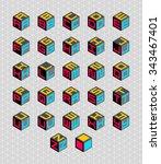 cubic alphabet set. vector... | Shutterstock .eps vector #343467401