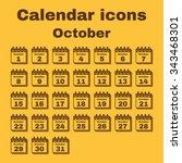 the calendar icon.  october... | Shutterstock .eps vector #343468301