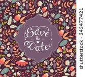 save the date hand lettering.... | Shutterstock .eps vector #343477421