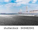 asphalt road and modern bridge... | Shutterstock . vector #343482041