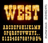 western style night font. gold... | Shutterstock .eps vector #343482491