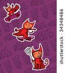 little cartoon evil skating   Shutterstock .eps vector #34348486