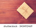 rustic gift box packed into... | Shutterstock . vector #343492469