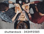 hipster friends in fast food... | Shutterstock . vector #343493585