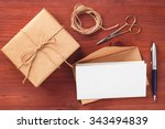 rustic gift box and envelope... | Shutterstock . vector #343494839