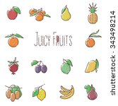 vector fruits linear icons set | Shutterstock .eps vector #343498214