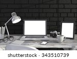 3d illustration laptop and work ... | Shutterstock . vector #343510739