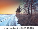 traces of the car wheels on a...   Shutterstock . vector #343513109