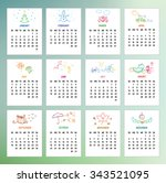 calendar 2016 year with simple... | Shutterstock .eps vector #343521095