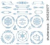 christmas new year decor... | Shutterstock .eps vector #343525577