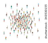 crowd of people gathering at... | Shutterstock .eps vector #343530155