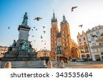 Old city center view with Adam Mickiewicz monument, St. Mary