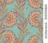 folkloric batik vector ornament.... | Shutterstock .eps vector #343544804