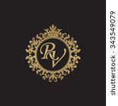 rv initial luxury ornament... | Shutterstock .eps vector #343549079