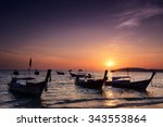 railay beach at sunset  in... | Shutterstock . vector #343553864