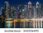dubai downtown night scene with ... | Shutterstock . vector #343556495
