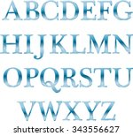 english alphabet  blue ... | Shutterstock .eps vector #343556627