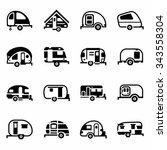 vector trailer icon set on... | Shutterstock .eps vector #343558304