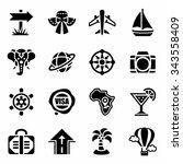 vector travel icon set on white ... | Shutterstock .eps vector #343558409