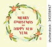 illustration festive christmas ...   Shutterstock . vector #343558967