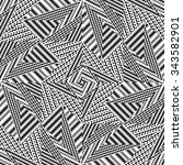 black and white vector seamless ... | Shutterstock .eps vector #343582901