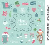 merry christmas decoration... | Shutterstock .eps vector #343583624
