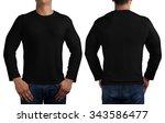 man body in black long sleeves...   Shutterstock . vector #343586477