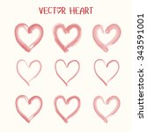 set of  vector heart icon.... | Shutterstock .eps vector #343591001