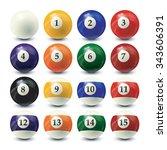 billiard balls set   realistic... | Shutterstock .eps vector #343606391