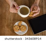 woman hands with tablet... | Shutterstock . vector #343608914