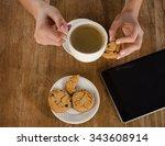 woman hands with tablet... | Shutterstock . vector #343608914