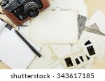 old camera  notebook and pen on ... | Shutterstock . vector #343617185