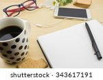opened blank notebook with pen  ... | Shutterstock . vector #343617191