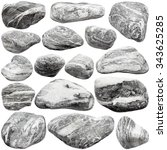 set of grey rocks isolated on...   Shutterstock . vector #343625285